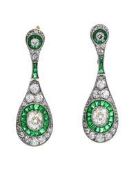 Etsy Green Deco Old Cushion Diamond Emerald Dangle Earrings