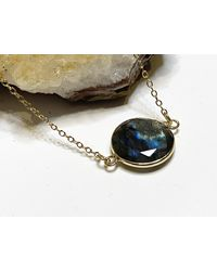 Etsy Metallic Handmade Labradorite Crystal Round Pendant Gold Tone Necklace