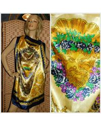 Etsy Multicolor Vintage 80s 90s Ornate Baroque Greek God Neck Head Scarf 1980s 1990s Shawl