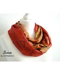 Etsy Orange Beige Upcycled Vintage Sari Silk Infinity Scarf