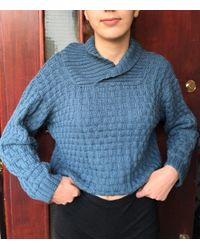 Etsy 's Vintage Hand Knitted Sweater Hand Knitted Long Sleeved Blue Jumper 's Roll Neck Pullove