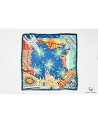 Etsy Blue Scenes Of Edinburgh 100% Silk Square Scarf With A Hand Rolled Hem