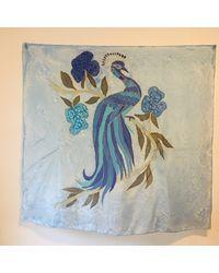 Etsy Blue Vintage Large Silk Handmade Hand Painted Peacock Bird Scarf