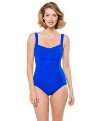 Karla Colletto | Blue One Piece Wide Strap Tank | Lyst