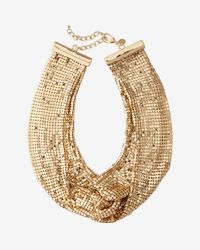 Express | Metallic Mesh Knot Necklace | Lyst