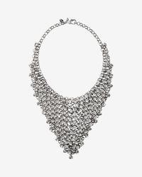 Express - Metallic Crystal Net Bib Necklace - Lyst