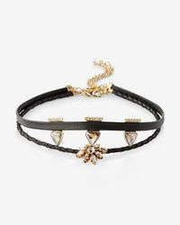 Express | Black Stone Burst And Triangle Choker Necklace Set | Lyst