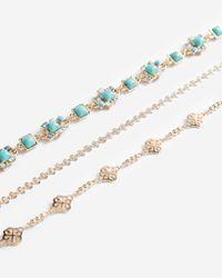 Express Metallic Set Of Three Textured Choker Necklaces