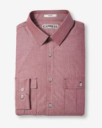 Express Red Fitted Dot Print Flap Pocket Shirt for men
