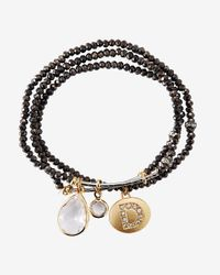 Express | Black Faceted D Initial Stretch Bracelet | Lyst