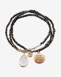 Express - Black Faceted E Initial Stretch Bracelet - Lyst