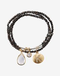 Express | Black Faceted K Initial Stretch Bracelet | Lyst