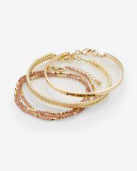 Express | Metallic Set Of Three Good Vibes Only Beaded Bracelets | Lyst