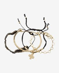 Express - Black Set Of Four Bead And Woven Cuff Bracelets - Lyst