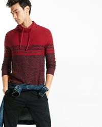 Express - Red Marled Color Blocked Funnel Neck Sweater for Men - Lyst