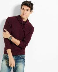 Express Purple Ribbed Funnel Neck Sweater for men