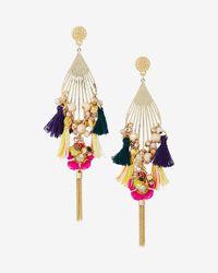 Express - Multicolor Beaded Tassel Statement Drop Earrings - Lyst