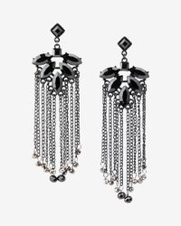 Express | Black Bead Fringe Chandelier Drop Earrings | Lyst