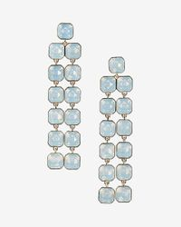 Express   White Square Stone Waterfall Earring   Lyst