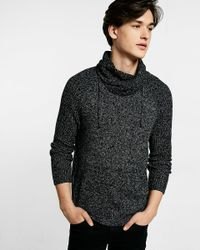Express | Black Marled Funnel Neck Sweater for Men | Lyst