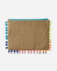 Express - White Pom Trim Embellished Pouch - Lyst