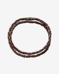 Express - Brown Braided Leather Wrap Bracelet - Lyst