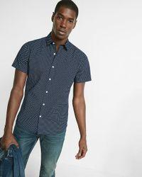 Express | Blue Soft Wash Micro Print Short Sleeve Shirt for Men | Lyst