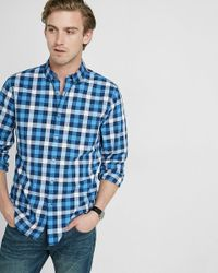 Express | Blue Soft Wash Check Button-down Collar Shirt for Men | Lyst