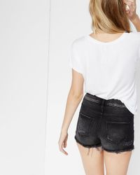 Express - High Waisted Black Distressed Denim Shorts - Lyst