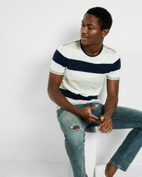 Express | Gray Striped Crew Neck Short Sleeve Tee for Men | Lyst