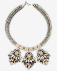 Express | Metallic Double Banded Rhinestone Cluster Necklace | Lyst