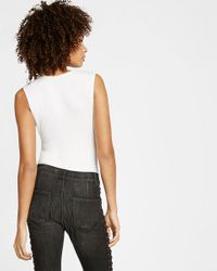 Express - White One Eleven Sleeveless Ribbed Bikini Bodysuit - Lyst