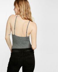Express Gray One Eleven Ribbed Seamed Cami Bodysuit