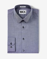 Express | Blue Slim Fit Textured 1mx Shirt for Men | Lyst