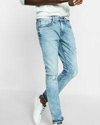 Express - Blue Skinny Fit Skinny Leg Destroyed Flex Stretch Jeans for Men - Lyst