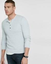 Express | Blue Cotton Tuck Stitch Crew Neck Henley Sweater for Men | Lyst