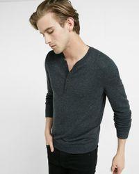 Express | Black Merino Wool Blend Henley Sweater for Men | Lyst
