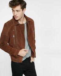 Express Brown Genuine Suede Asymmetrical Biker Jacket for men