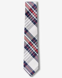 Express | Red Plaid Narrow Silk Tie for Men | Lyst