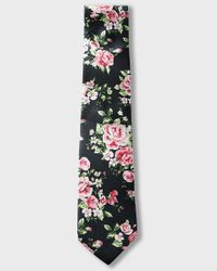 Express | Black Floral Slim Silk Tie for Men | Lyst