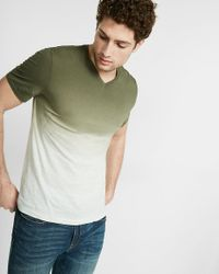 Express | Green Striped Ombre V-neck Tee for Men | Lyst