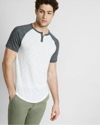 Express | Gray Marled Color Blocked Short Sleeve Knit Henley for Men | Lyst