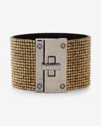 Express | Metallic Pave Turnlock Cuff Bracelet | Lyst