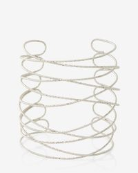 Express | Metallic Textured Crisscross Cuff | Lyst