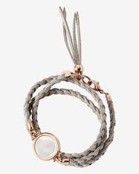 Express - Gray Braided Double Wrap White Stone Bracelet - Lyst