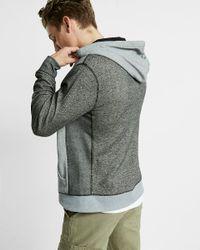 Express Gray Color Block Zip Up Hoodie for men