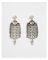 Express - Metallic Center Round Stone Fringe Drop Earrings - Lyst