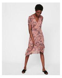 Express Pink Floral Print Ruffle Midi Dress