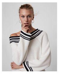 Express White Stripe Shaker Knit Bucket Sleeve Sweater