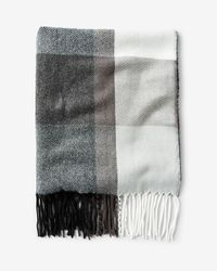 Express - Gray Fringed Plaid Scarf - Lyst